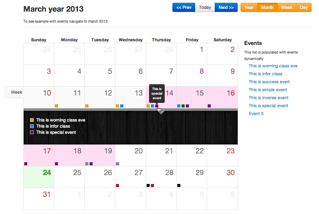 Bootstrap Calendar Javascripting